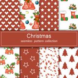 Set of festive backgrounds. Collection of seamless patterns. Cartoon elements for your design. Set of festive backgrounds. Stock vector. Collection of seamless Royalty Free Stock Images