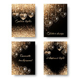 Set of festive backgrounds with hearts. Wedding background with brilliant light.  Shine bright on a black backdrop. Design to celebrate marriage proposal Royalty Free Stock Image