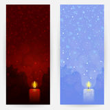 Set of festive backgrounds. Set of red and blue festive backgrounds with candlelights Royalty Free Stock Images