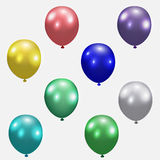 Set of festive balloons. Realistic, colorful, colorful. Isolated white background. illustration Stock Photos