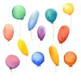 Set of  festive balloons. Set of vector colorful watercolor festive balloons Stock Photos
