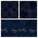 Set of festive birthday firework seamless pattern bursting in various shapes sparkling on black background vector. Set of festive birthday firework seamless Stock Photos