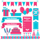 Set of festive birthday party elements. Flat design. Royalty Free Stock Photo