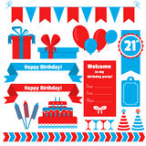 Set of festive birthday party elements. Flat design. Royalty Free Stock Images