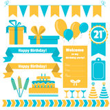 Set of festive birthday party elements. Flat design. Stock Photo