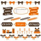 Set of festive birthday party elements. Flat design. Royalty Free Stock Photos