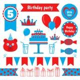 Set of festive birthday party elements. Flat design. Vector set of festive birthday party elements. Flat design Stock Photography