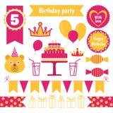 Set of festive birthday party elements. Flat design. Vector set of festive birthday party elements. Flat design Stock Image