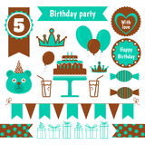 Set of festive birthday party elements. Flat design. Stock Photography