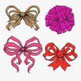 Set of festive bows. Vector illustration Stock Image