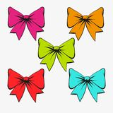 Set of festive bows. Vector illustration Royalty Free Stock Images