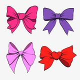 Set of festive bows. Vector illustration Stock Images