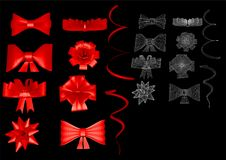 Set of festive bows. On black background Royalty Free Stock Images