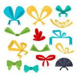 Set festive bows in different shapes and colors. Flat design. Vector set festive bows in different shapes and colors. Flat design Royalty Free Stock Image