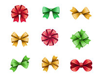 Set of festive bows isolated on white background, gift design elements, Christmas clip art illustration Royalty Free Stock Photography