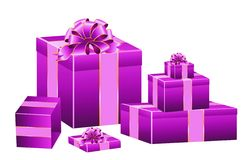 Set of festive boxes with the bows. Of lilac color Royalty Free Stock Photo