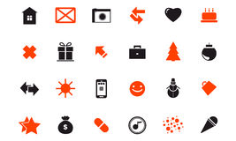 Set of festive Christmas icons web holidays Stock Photography