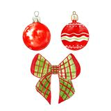 Set of festive christmas tree decorations, red glass baubles and christmas tree bow. Isolated on white background. For Christmas and New Year`s cards royalty free illustration