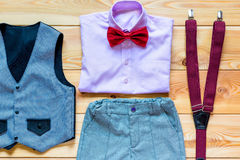 Set of festive clothes for the boy Royalty Free Stock Photos