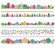 Set of festive colorful elements drawn in a row. Colorful houses, trees, balls, gifts and snowflakes drawn up in line with the 3D shadow. Festive template for Stock Photos