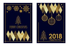 Trendy Merry Christmas and Happy New Year cards. Linear fir tree, snowflakes and decorations on black background. Set for festive covers, banners, posters Royalty Free Stock Photos