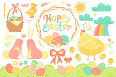 Set of Festive Decorations for Happy Easter. Congratulatory inscription, painted eggs, willow wreath, rabbits, chicken Stock Photo