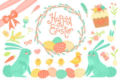 Set of Festive Decorations for Happy Easter. Congratulatory inscription, painted eggs, willow wreath, rabbits, easter Stock Image
