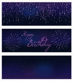 Set of festive firework bursting in various shapes sparkling on black background abstract vector isolated illustration. Set of 3 festive firework banner bursting Stock Photos