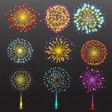 Set Festive Firework Salute Burst on Transparent Background vector illustration. Set of Varisus Festive Firework Salute Burst on Transparent Background vector Royalty Free Stock Photos