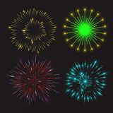 Set of festive fireworks. Bursting in different shapes with light sparkling and glowing effects. Isolated vector illustration Royalty Free Stock Photography