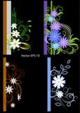 Set of festive frames for photos. decorated with abstract flowers stock illustration