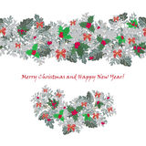 Set festive garlands of holly berry and  cineraria Stock Photo