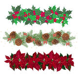 Set festive garlands of holly berry and  cineraria Stock Photos