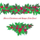 Set festive garlands of holly berry Royalty Free Stock Images