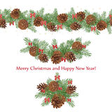 Set festive garlands of pine cones and bows decorated with stars. Seamless pattern, Vector illustration Stock Photo