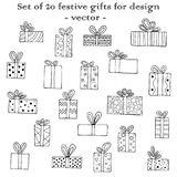 Set of 20 festive gifts for design.. Hand-drawn black-and-white  illustration Stock Images
