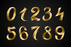 Set of festive gold ribbon digits vector. golden iridescent gradient number geometric design on black background. Art royalty free illustration