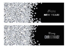 Set of festive horizontal banners. Set of festive horizontal banners with silver tinsels. Background for congratulations on Christmas and New Year Stock Photos