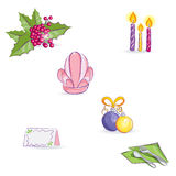 Set of festive items for the New Year's table Stock Images