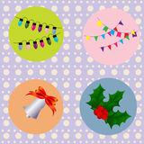 Set of festive lights on the Christmas tree, Halloween flags, Christmas bell and Holly with berries Royalty Free Stock Image