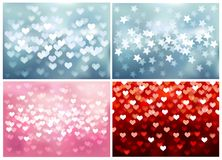Set of festive lights in heart and star shapes, Stock Photography