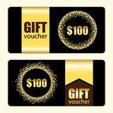 Set of festive luxury gift voucher templates with glamour golden glitter confetti. For your decoration Royalty Free Stock Photography