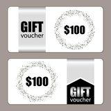 Set of festive luxury gift voucher templates with glamour silver glitter confetti. For your decoration Royalty Free Stock Photography