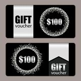 Set of festive luxury gift voucher templates with glamour silver glitter confetti. For your decoration Royalty Free Stock Photo