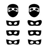 Set of festive masks and thief icon Stock Photos