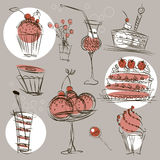 Set for a festive menu. Set of images of food, pastries, sweets, drinks and cocktails made in the form of a silhouette, pencil drawing, festive treats Stock Photo