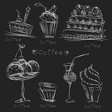 Set for a festive menu. Set of images of food, pastries, sweets, drinks and cocktails made in the form of a silhouette, white lines on a black background, pencil Royalty Free Stock Photo