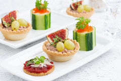 Set of festive mini appetizers Royalty Free Stock Photos