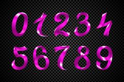 Set of festive pink ribbon digits vector. purple iridescent gradient number geometric design on black background. Art stock illustration