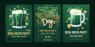 Set of festive posters with symbols of Irish holiday on a green background. royalty free illustration